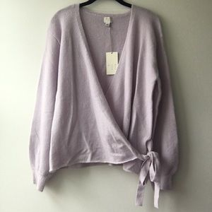 NWT a new day Lavender Faux Wrap Sweater Size L